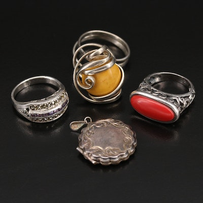 Sterling Rings and Vintage Locket with Jasper, Marcasite and Wire Wrap Ring