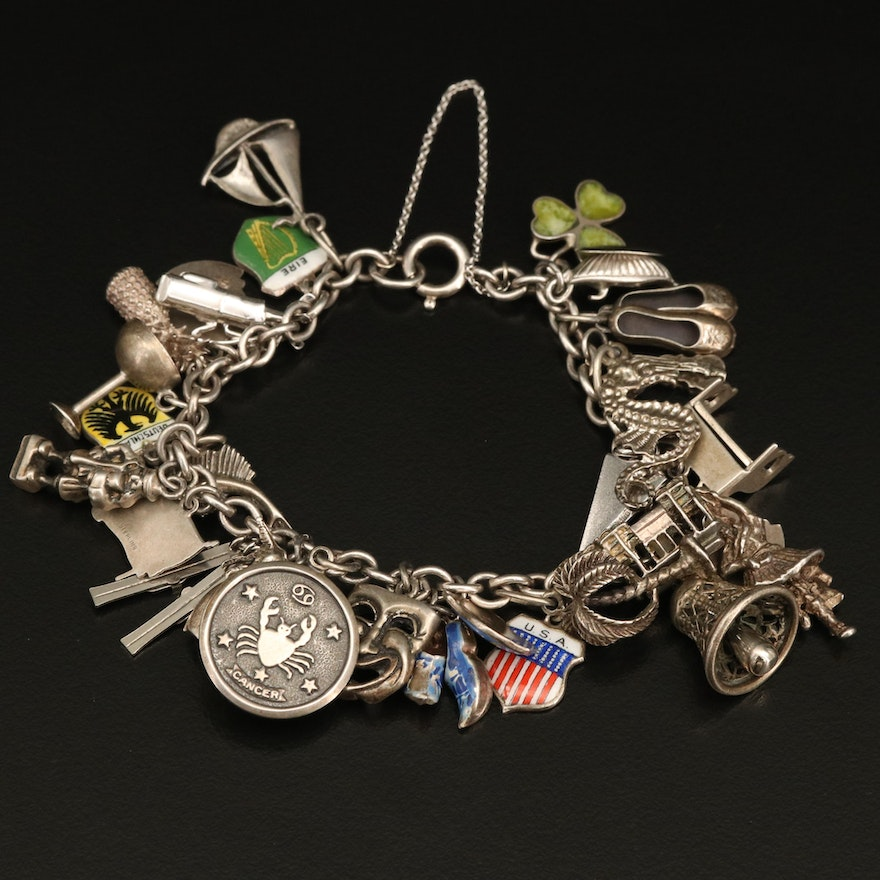 Vintage Sterling Charm Bracelet with Stanhope Trolley and Travel Charms