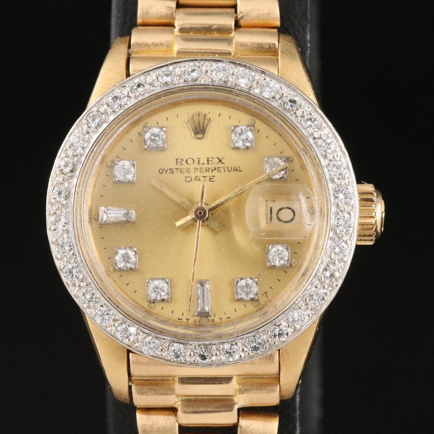 1978 Rolex Datejust 0.87 CTW Diamond Bezel and Dial Wristwatch