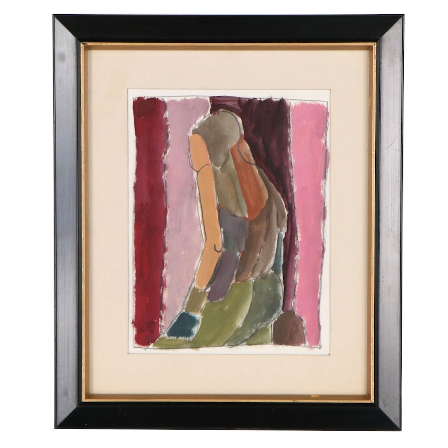 Jewell Haley Abstract Watercolor Painting, Late 20th Century