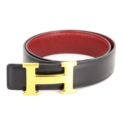 Hermès Constance Reversible Belt in Box Calf and Courchevel Leather