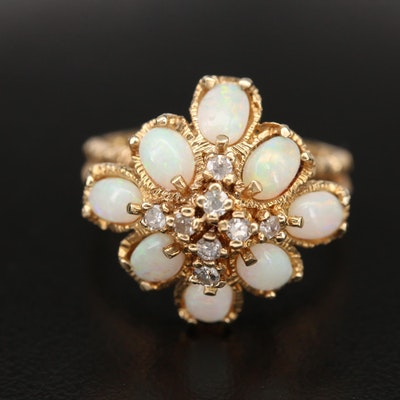 14K Opal and Diamond Ring with Split Shoulders