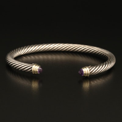 David Yurman Sterling Amethyst Cable Cuff with 18K Accents