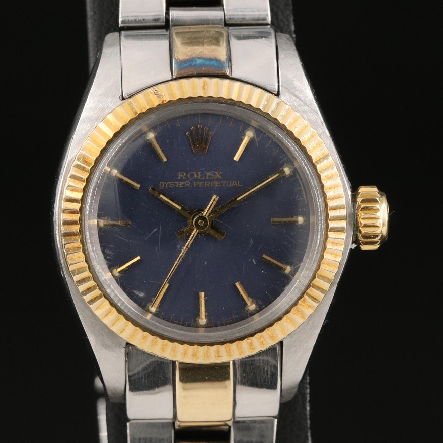 1983 Rolex Oyster Perpetual 6719 18K Gold and Stainless Steel Wristwatch