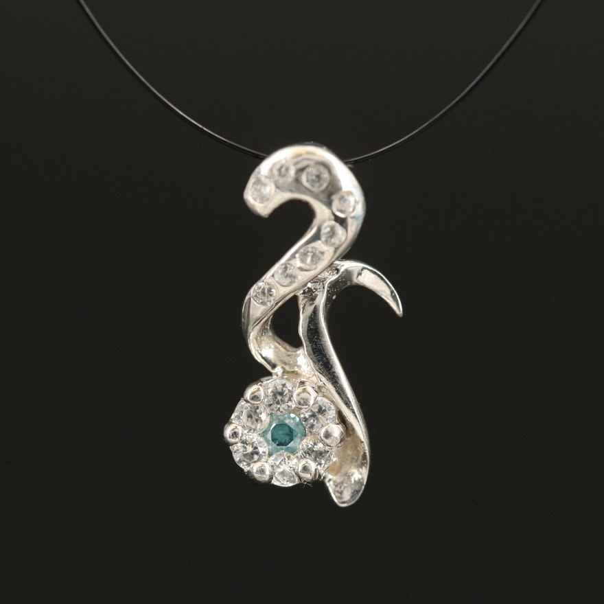 Sterling Diamond and Zircon Floral Pendant