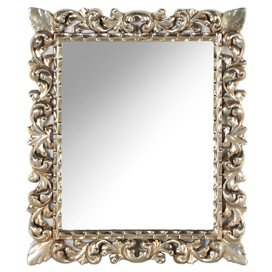 Spanish Rococo Style Silver Leaf Wall Mirror, Late 20th Century