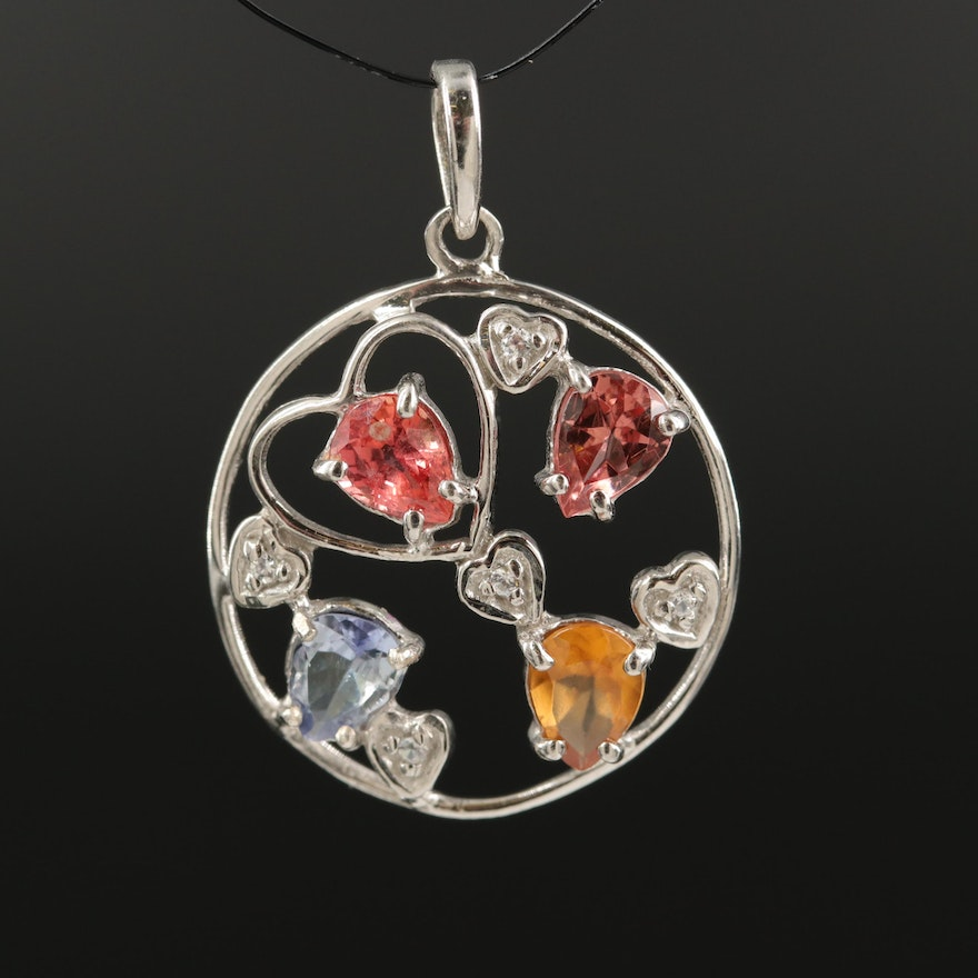 Sterling Open Heart Pendant Including Sapphire, Hessonite and Tanzanite