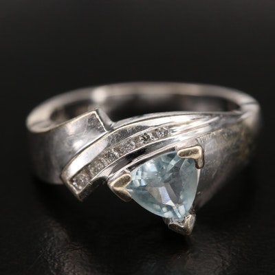14K Aquamarine and Diamond Asymmetrical Ring