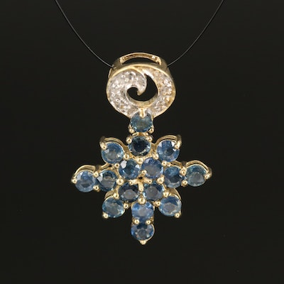 Sterling Sapphire and Topaz Pendant