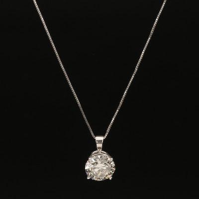14K 2.88 CT Diamond Solitaire Pendant Necklace