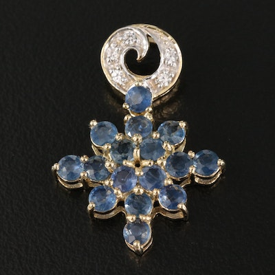 Sterling Silver Zircon and Sapphire Octogram Star Pendant