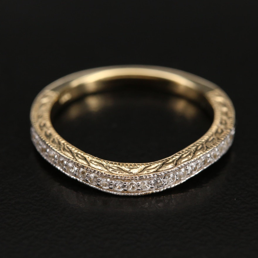 Sterling Zircon Wave Ring with Foliate Detail