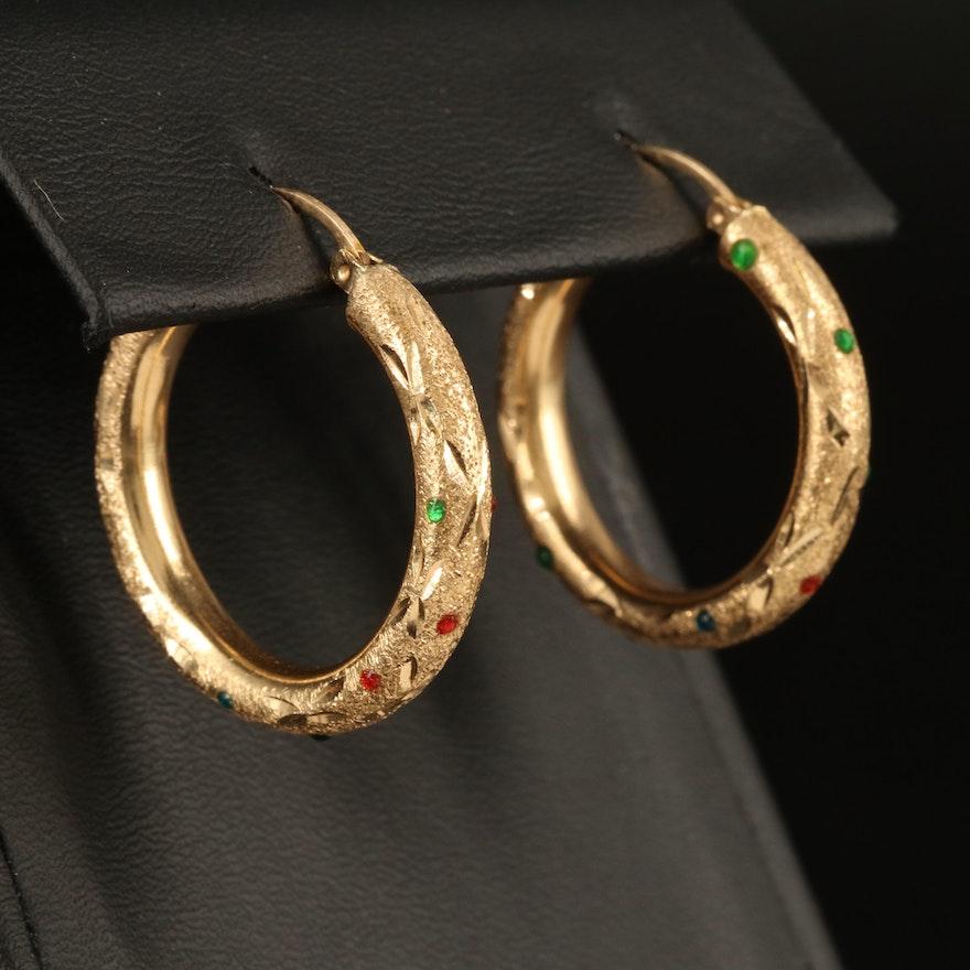 14K Enamel Hoop Earrings