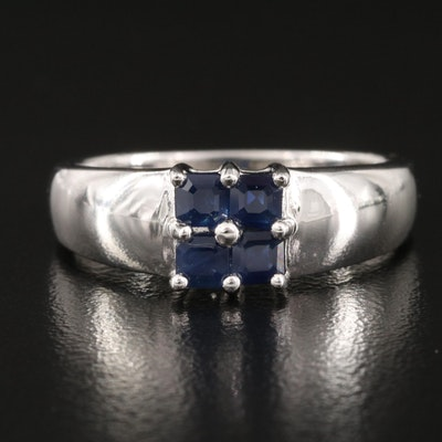 Sterling Sapphire Square Ring