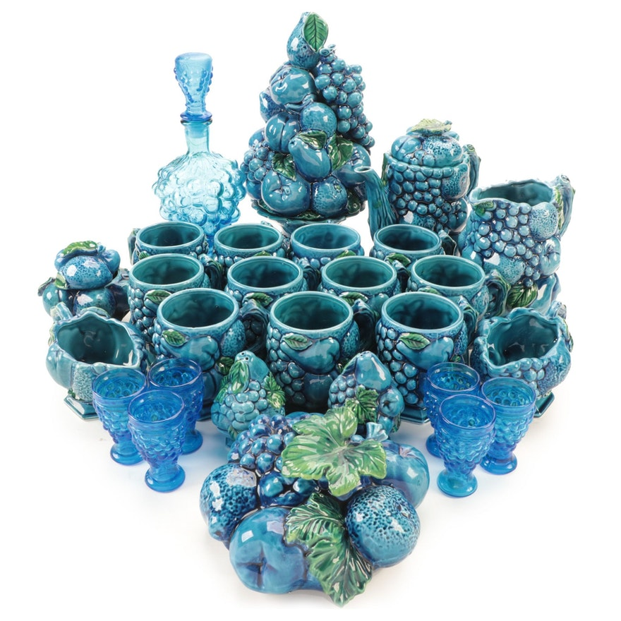 """Inarco """"Mood Indigo Blue"""" Ceramic Tableware and Other Juice Glasses"""