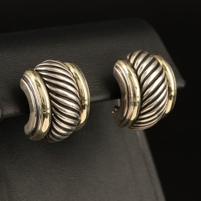 David Yurman Sterling Cable Earrings with 14K Accents