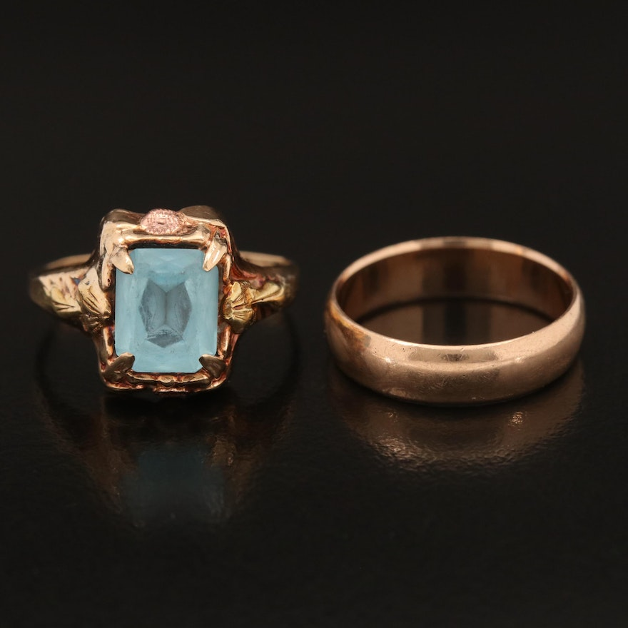 Vintage 10K Glass Ring with Smooth Band