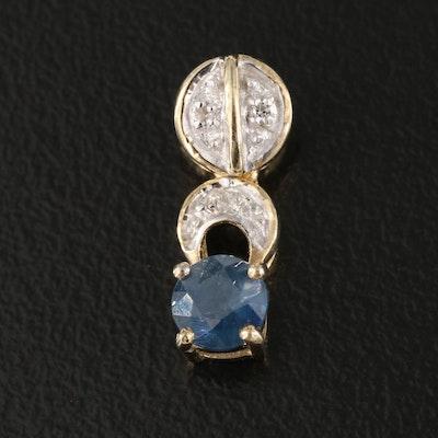 Sterling Sapphire and Diamond Pendant