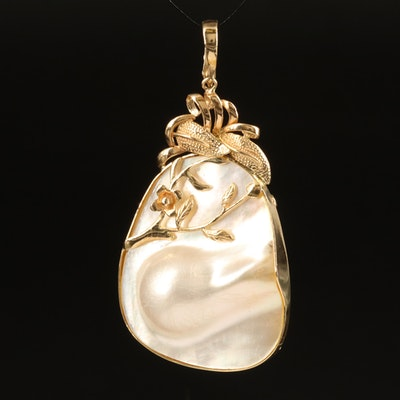 14K Blister Pearl Enhancer Pendant with Floral Accent