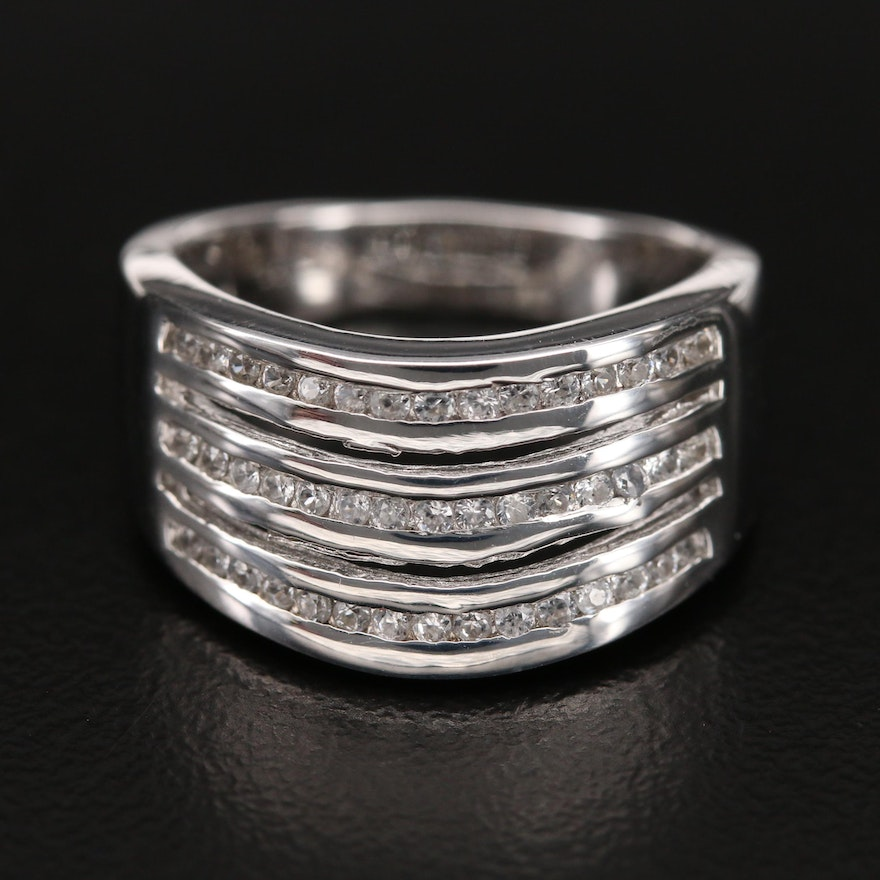 Sterling Zircon Tapered Band