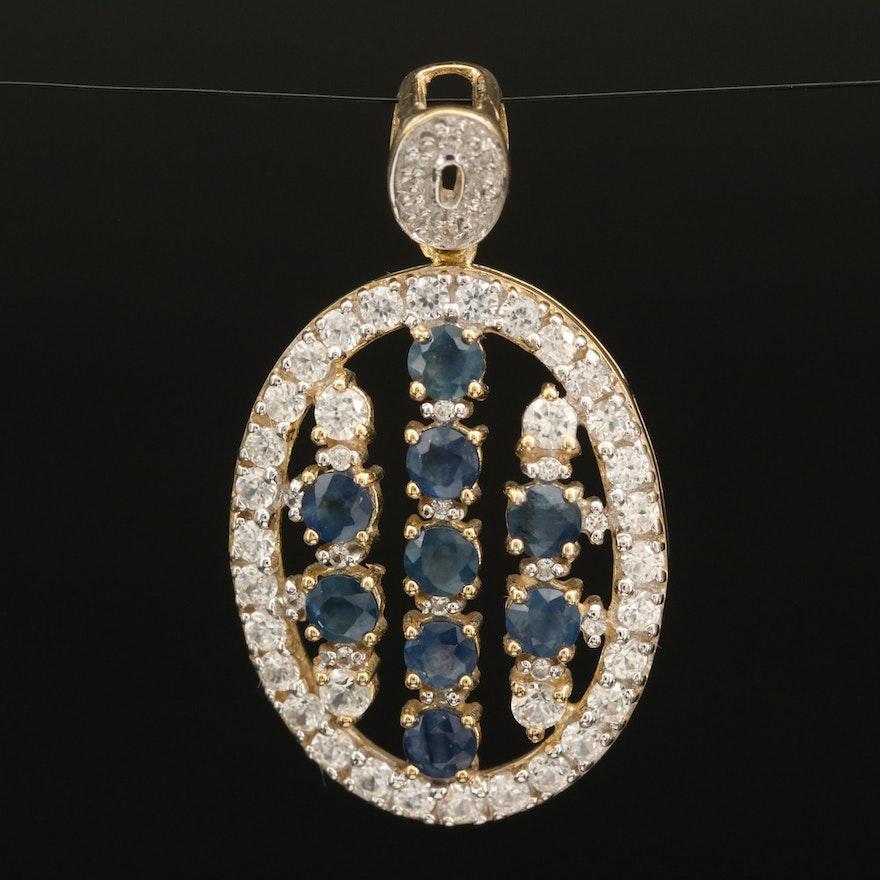 Sterling Sapphire and Zircon Openwork Pendant