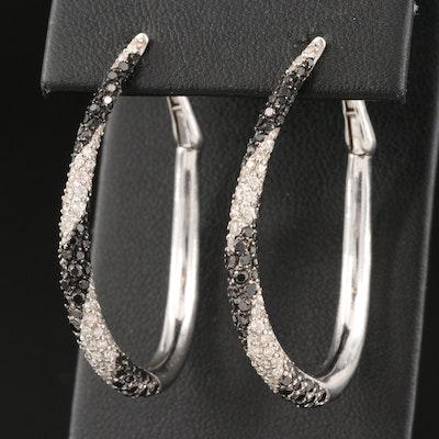 14K 1.01 CTW Diamond Oval Hoop Earrings
