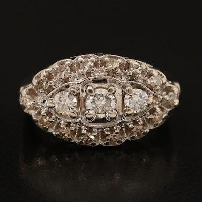 1950s 14K 0.66 CTW Diamond Navette Ring