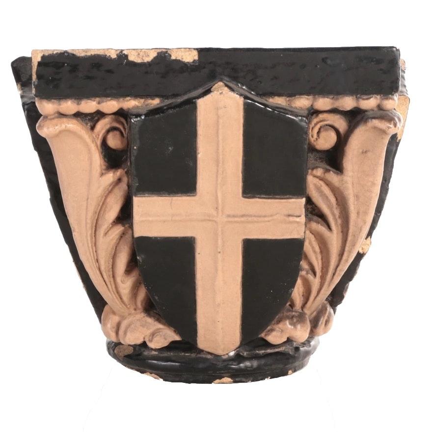 Glazed Terracotta Armorial Shield and Acanthus Leaf Pedestal Cap, Antique