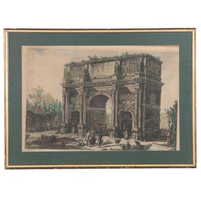 Giovanni Battista Piranesi Hand-Colored Etching of Arch of Constantine
