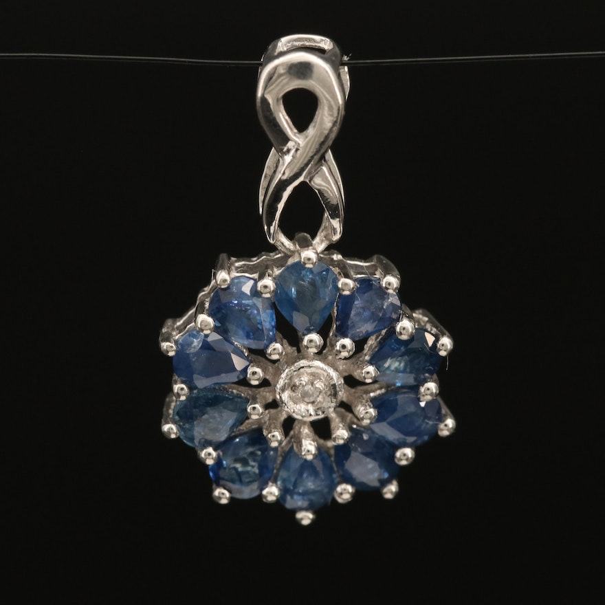 Sterling Sapphire and Zircon Infinity Pendant