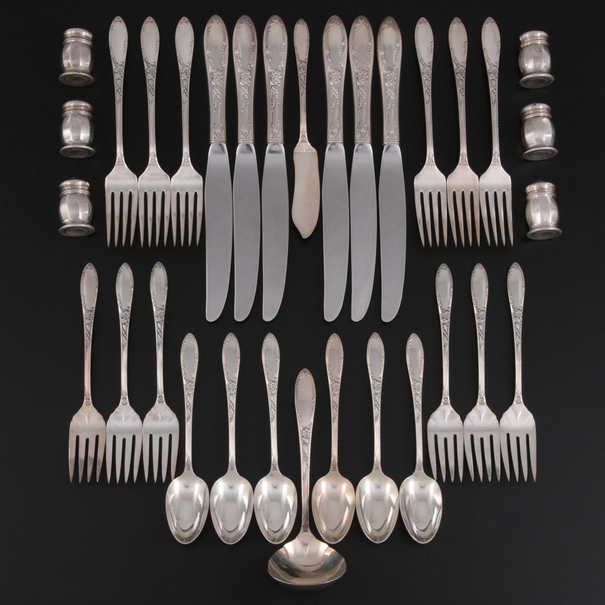 """Oneida """"Virginian"""" Sterling Silver Flatware with Other Sterling Silver Shakers"""