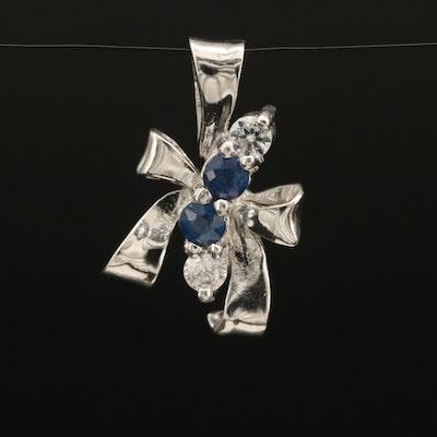 Sterling Sapphire and Zircon Ribbon Pendant