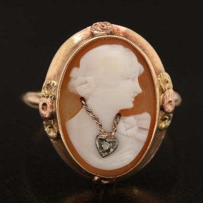 Vintage 10K Shell and Diamond Cameo Habillé Ring with Rose and Green Gold