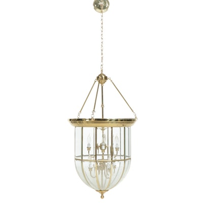 Brass and Glass Dome Hanging Pendant Vestibule Ceiling Light Fixture