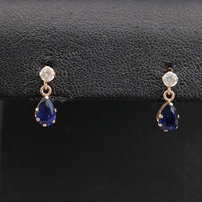 10K Sapphire and Cubic Zirconia Drop Earrings