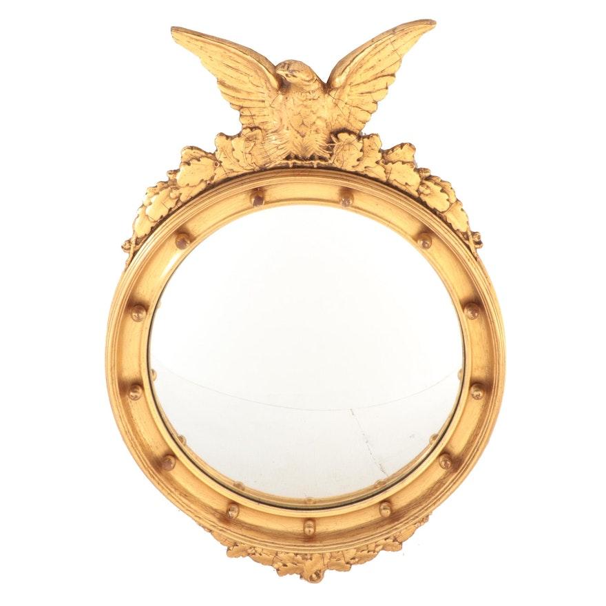 Federal Style Gilt Wood Bullseye Convex Wall Mirror, 20th Century