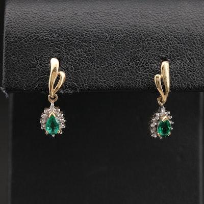 10K Emerald and 0.01 CTW Diamond Teardrop Earrings