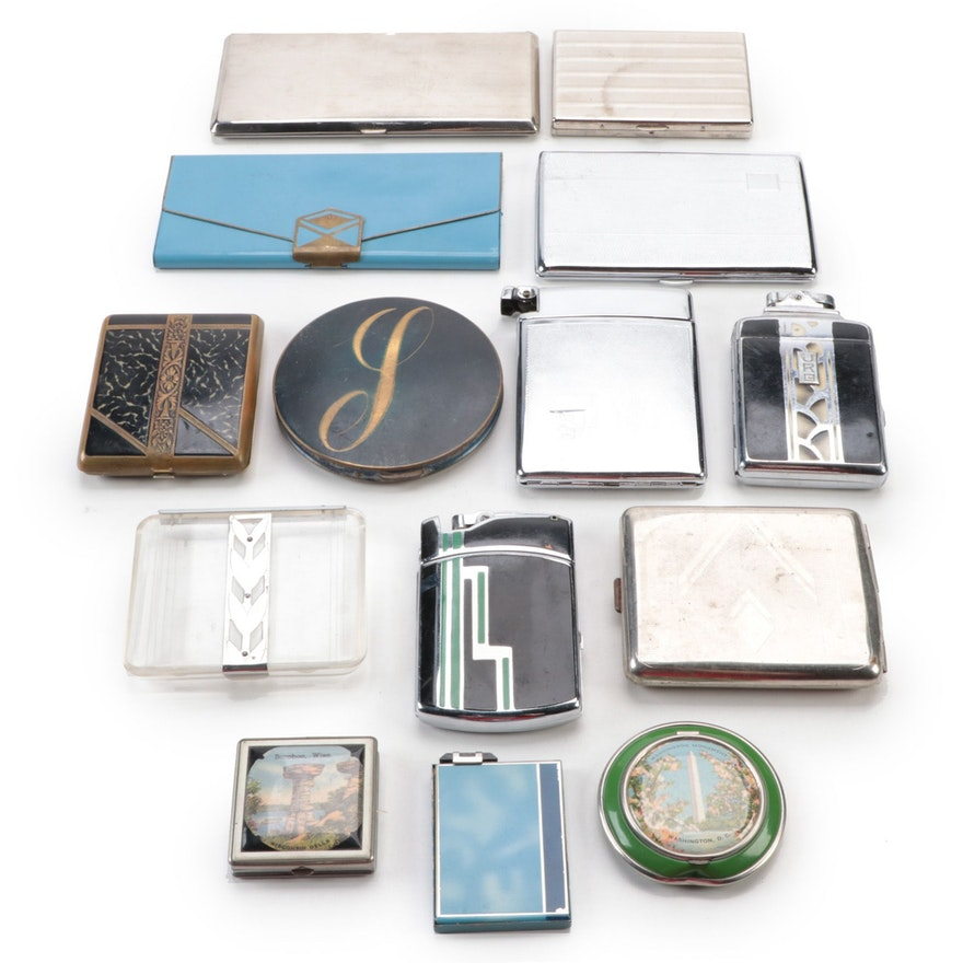 Ronson, Arlon and Other Cigarette Cases and Makeup Compacts, Mid-20th Century