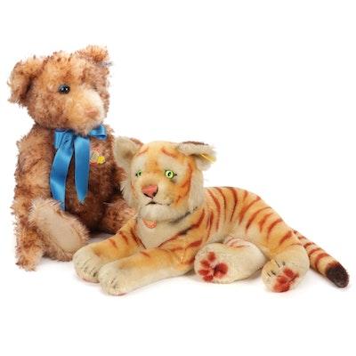 "Steiff Original Tiger Stuffed Animal and ""Petsy"" 1928 Reproduction Teddy Bear"