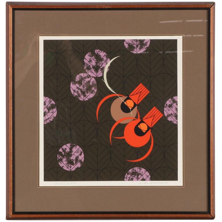 """Charley Harper Serigraph """"Redbirds and Redbuds,"""" 1980"""