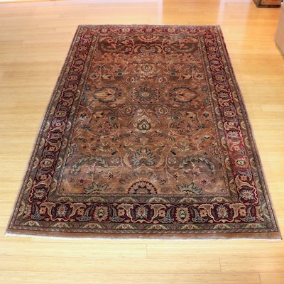 5'8 x 9'4  Hand-Knotted Persian Qom Area Rug