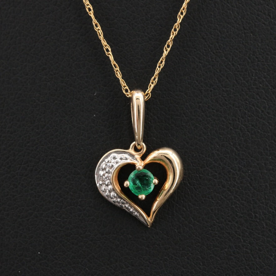 14K 3.22 CT Emerald and Diamond Heart Pendant Necklace