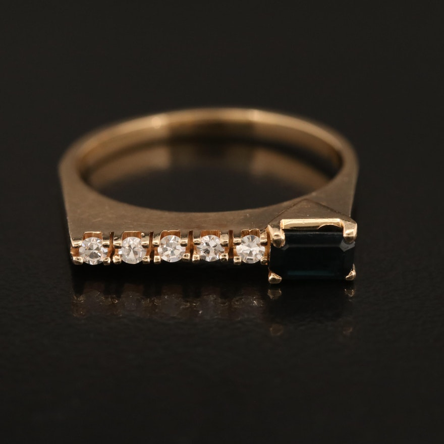 Minimalist 14K Sapphire and 0.10 CTW Diamond Band