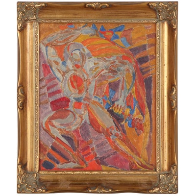 """Jewell Haley Figural Abstract Oil Painting """"Anger II,"""" Circa 1965"""