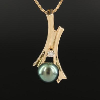 Italian 14K Pearl and Diamond Pendant Necklace