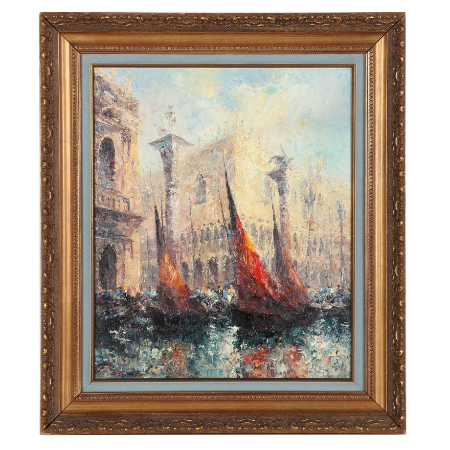 Herbert Beck Impressionist Style Oil Painting of Venice, Mid-Late 20th Century