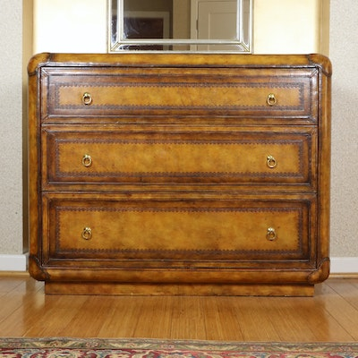Maitland-Smith Handmade Embossed Leather Chest of Drawers