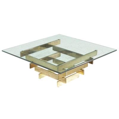 Mid Century Modern Glass Top Brass Coffee Table