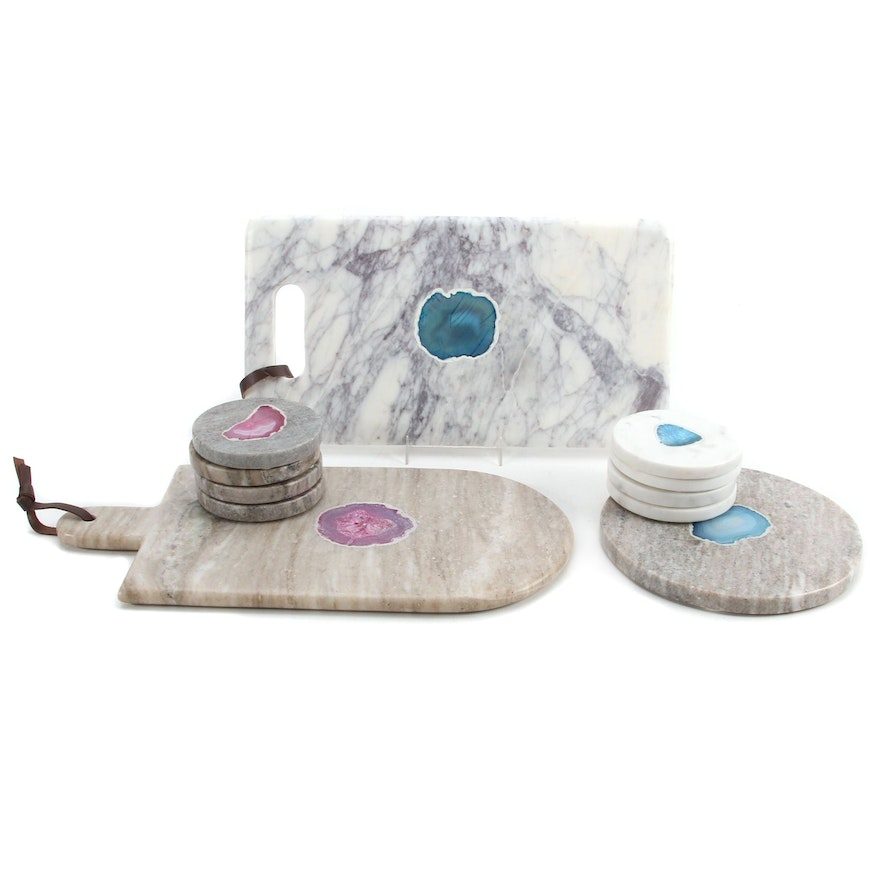 Dyed Agate and Marble Coasters and Cutting Boards
