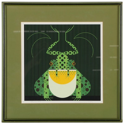 """Charley Harper Serigraph """"Frog Eat Frog,"""" Mid to Late 20th Century"""